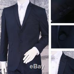 Get Up Mod Retro Single Breasted Slim Fit Micro Herringbone Suit Navy