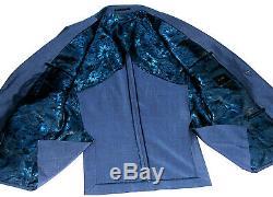 Gorgeous Mens Duchamp London Petrol Blue Slim Fit 3 Piece Suit 46r W40 X L32
