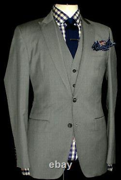 Gorgeous Mens Jaeger London Plain Grey Slim Fit 3 Piece Suit 40r W34 X L32