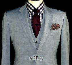 Gorgeous Mens Reiss London Light Baby Blue Slim Fit 3 Piece Suit 38s W32 X L30