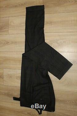 Gorgeous Tom Ford Grey & Brown Check Suit Slim Fit Peak Lapel Jacket Uk 38 Eu 48