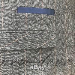 Gray Men's 3 Piece Classic Tweed Herringbone Check Slim Fit Vintage Suit Custom