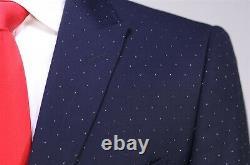 Gucci Current Model Navy Blue Polka Dot Peak Lapel Slim Fit 2-Btn Suit 38R