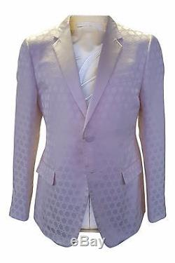 Gucci Slim Fit Cream Silk Jacquard Single Breasted Suit Jacket (54r)