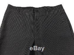 Gucci Tom Ford Men's Black Striped Tailored Slim Fit Wool Suit 42l 34w 33l