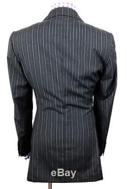 Gucci Tom Ford Mens Black Striped Slim Fit Wool Chic-tailored Suit 36r 30w 33l
