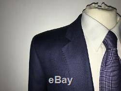 HACKETT Slim Fit DARK BLUE Fish Eye WOOL SUIT 42 Long W36 L34 STUNNING