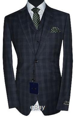 Holland Esquire Bnwt Mens Blue Pow Check 3 Piece Slim Fit Suit Uk 42r W36 X L33