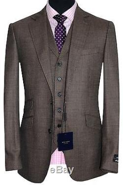 Holland Esquire Bnwt Mens Brown Tweed Check 3 Piece Slim Fit Suit Uk 38r W32 L33