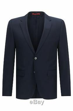 HUGO BOSS 134918 Men's Dark Bleu Virgin Woo Slim Fit'Aeron' Suit Jacket Sz 40R