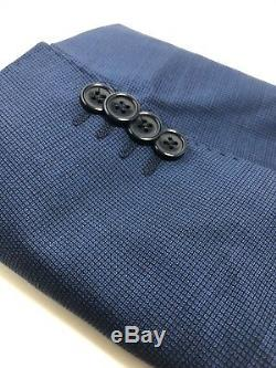 HUGO BOSS 42R MENS SUIT! PICK STITCHED! SUPER 120s! MODERN SLIM FIT! TRENDY BLUE
