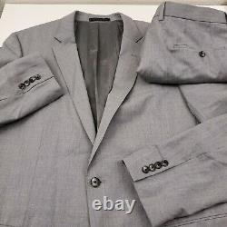 HUGO BOSS Huge6 Genius5 Wool 2pc Suit Jacket & Pants Mens 44L X 37 Slim Fit Gray