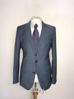 HUGO BOSS Slim Fit 3 PIECE BLUE WOOL MOHAIR SUIT 40 Reg -W32 L29 -WORN ONCE