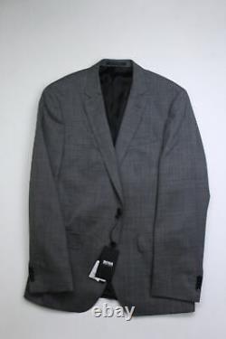 HUGO BOSS Textured Solid Slim Fit Suit Jacket 40R Grey Wool