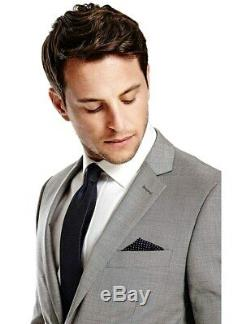 Hawes & Curtis Men's Grey Twill Slim Fit Suit Super 120s Wool, Slim Fit 38R