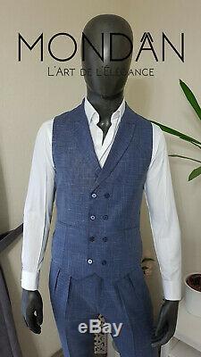 Herren Anzug 3 teilig Slim Fit Blau Smoking Suit Business NEU 2020