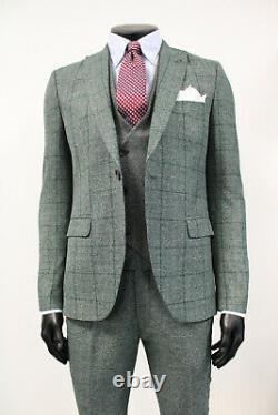 Herren Anzug 3 teilig Slim Fit Grün Karo Smoking Suit Business NEU 2020