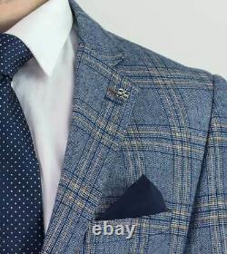 House Of Cavani Brendan Blue Check Slim Fit Men's 3 Piece Suit 52R