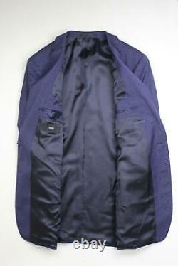 Hugo Boss Huge Genius Slim Fit Check Wool Suit 42L / 36W Blue Tonal