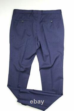 Hugo Boss Huge Genius Slim Fit Check Wool Suit 46R / 39W Blue Tonal