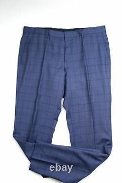 Hugo Boss Huge6/Genius5 Slim Fit Blue Windowpane Wool Suit 44R / 38W Blue 2020