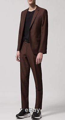 Hugo Boss Men's'Astina/Hets' Dark Orange Extra Slim Fit Wool Textured Suit 38R