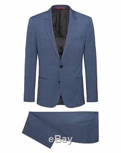 Hugo Boss Men's'Henry/Griffin' Blue Slim Fit Virgin Wool Patterned Suit, 40R