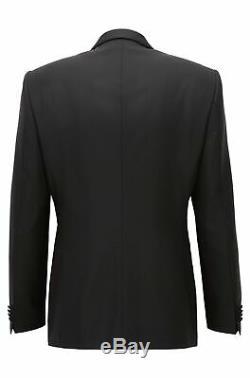 Hugo Boss Men's Herwyn/Gewon Black Slim Fit Wool Silk Tuxedo Suit 40 Regular