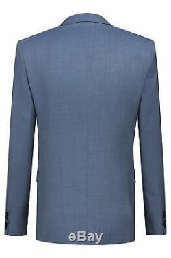 Hugo Boss Men's'Huge6/Genius5 WE' Slim Fit Light Blue Wool 3-Piece Suit 38R