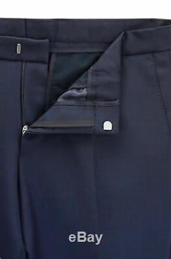 Hugo Boss Men's'Namil/Ben' Navy Slim Fit Wool Mohair Double Breasted Suit, 42R