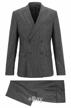Hugo Boss Men's'Namil/Ben' Slim Fit Double Breasted Grey Striped Wool Suit 38R