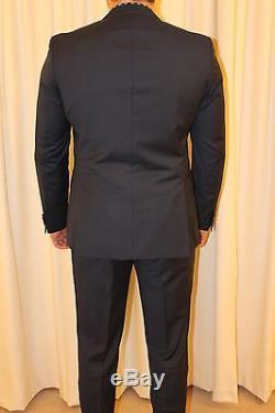 Hugo Boss Men's Navy Fine Stripe Slim Fit Suit Size 54 Uk