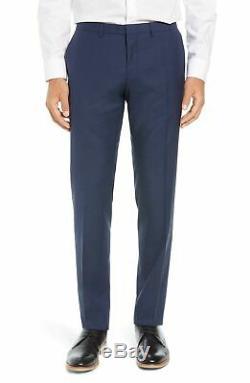 Hugo Boss Men's'Reymond/Wenten' Blue Extra Slim Fit Checkered Wool Suit 38R