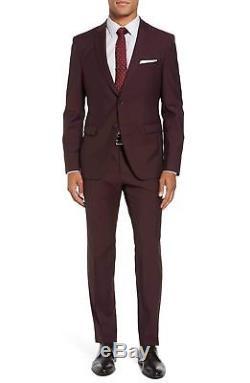Hugo Boss Men's'Reymond/Wenten' Extra Slim Fit Wool Mohair Dark Red Suit 40R