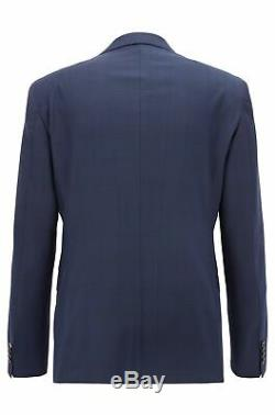 Hugo Boss Men's'Reyno/Wave' Dark Blue Plaid Extra Slim Fit Wool Suit 36R