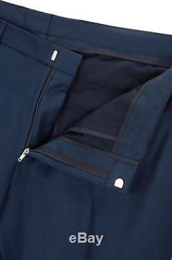 Hugo Boss Men's'Reyno/Wave' Extra Slim Fit Wool Birdseye Pattern Blue Suit 40R