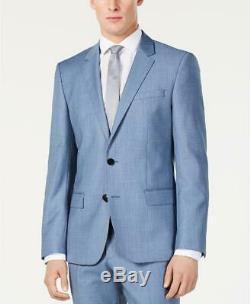 Hugo Boss Men's Slim Fit Light Blue Mini Grid 2 PC Suit Pants WOOL 44R 36W