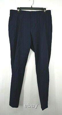 Hugo Boss Mens Blue Solid Virgin Wool Natural Stretch Slim Fit Suit 42R