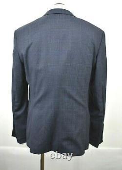 Hugo Boss Mens Dark Gray Notch Lapel Long Sleeve Wool Plaid Slim Fit Suit 44R