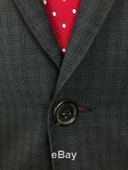 Hugo Boss Mens Grey Tattersall Slim Fit Wool Suit 40s 34w 32l