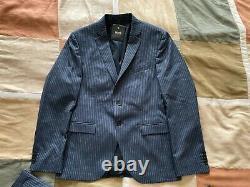 Hugo Boss reymond wenten navy blue pinstripe suit extra slim fit 38 S mens NEW