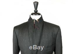 ISAIA Napoli Mens Grey Striped Slim Fit Working Cuffs Suit 42L 34W 33L