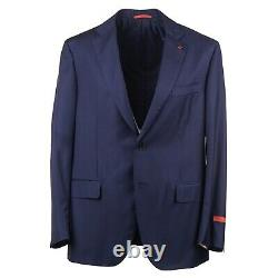 Isaia Napoli Trim-Fit Dark Blue Stripe Super 140s Wool Suit 46R NWT