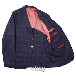 Isaia Slim-Fit Dark Blue Check Wool-Silk-Linen Suit 42R (Eu 52) Base Capri