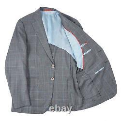 Isaia Slim-Fit Gray and Aqua Check Super 140s Wool Suit 40R (Eu 50) Gregorio