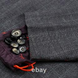 Isaia Slim-Fit'Gregorio' 3-Piece Gray Check Soft Brushed Wool Suit 44R (Eu 54)