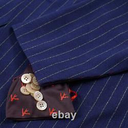 Isaia Slim-Fit Royal Blue Striped'Aqua 3-Ply' Wool Suit 42R (Eu 52) Gregorio