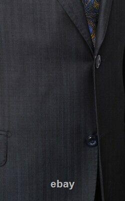 Italiano Men's Blue Sharkskin Ermenegildo Zegna Cloth Wool Slim Fit Suit
