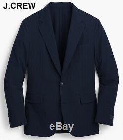 J. CREW Ludlow 38R seersucker blazer navy blue suit jacket cotton slim-fit 38 R