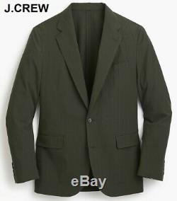 J. CREW Ludlow 40L seersucker blazer olive green suit jacket cotton slim-fit 40 L
